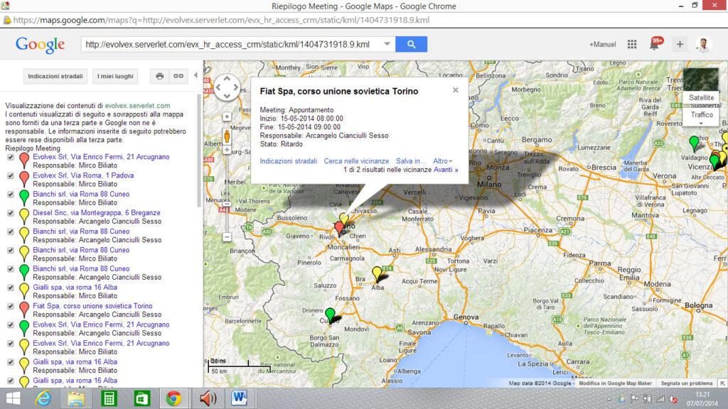 Software rilevazione presenze app con Google Maps e marcatore di posizione